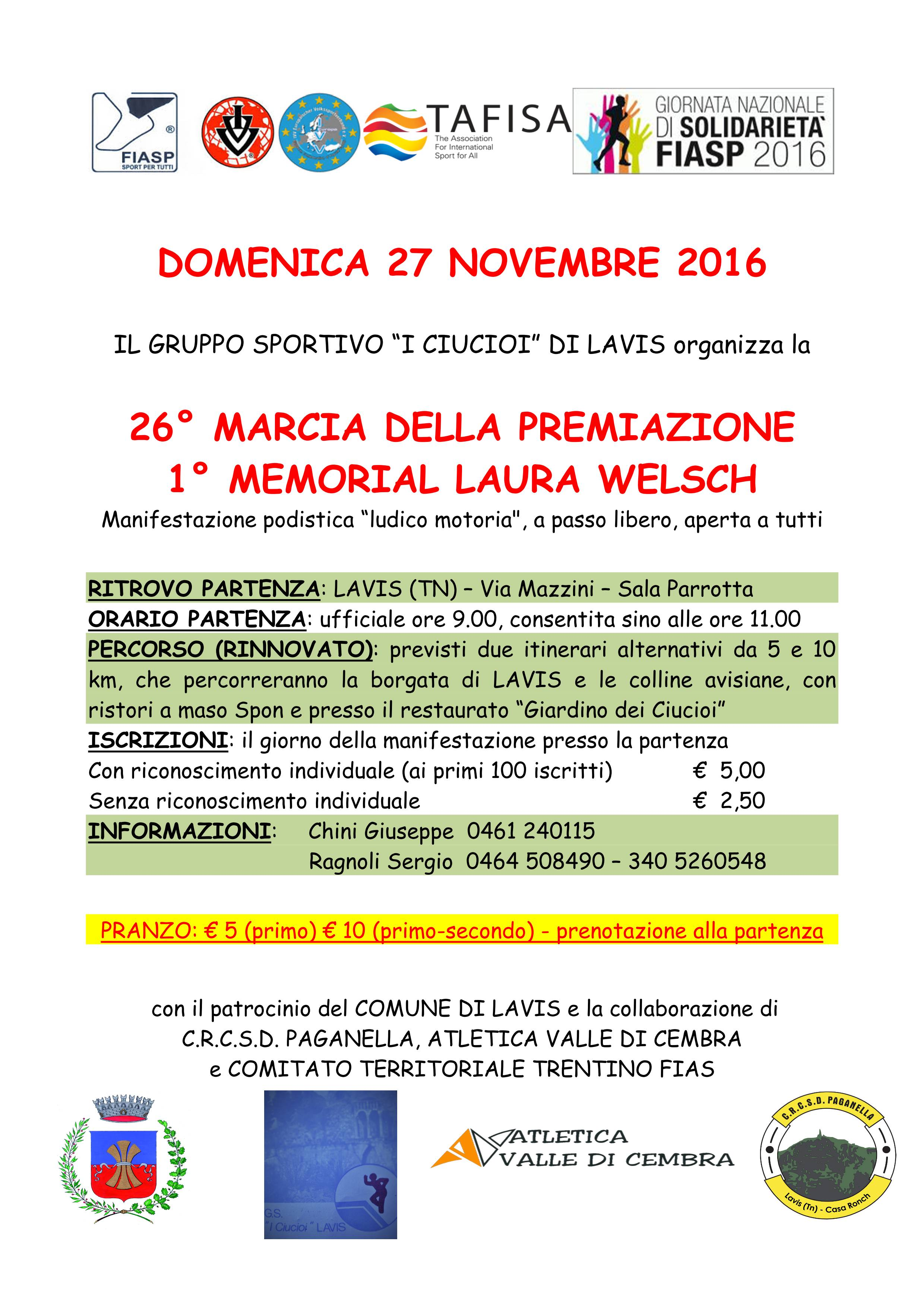 Fiasp Calendario 2020.26 Marcia Della Premiazione E 1 Memorial Laura Welsch
